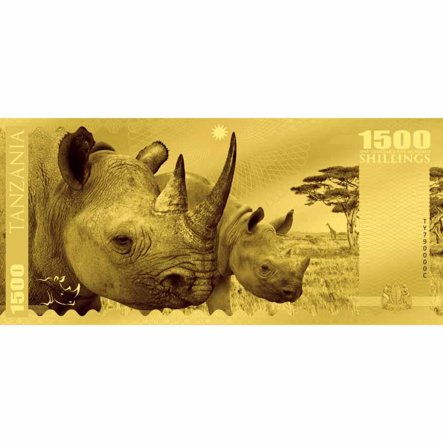 Big Five,1500 Σελίνια, 1γρ, 150 ×70 χιλ., Prooflike, Χρυσος 24Κ,2018, Τανζανία 2017 cti