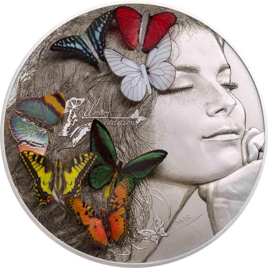 7 Εξωτικές Πεταλούδες,20$, 5oz, Ασήμι .999, Αντίκ φινίρισμα, Ασήμι .999,2018, Πα 2017 cti