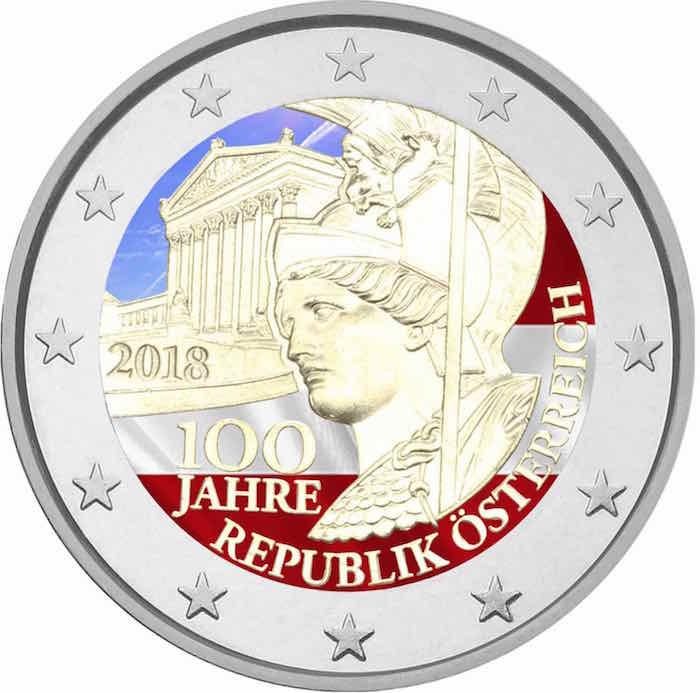 2 €, Έγχρωμο, 100 χρόνια Δημοκρατίας, Αυστρία, 2018 2 ευρώ