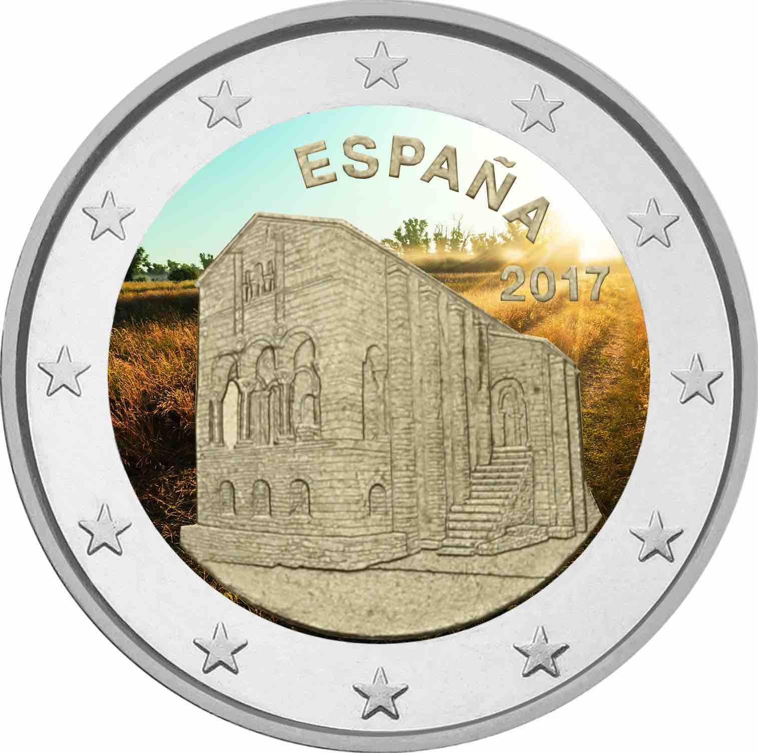 2 €, Έγχρωμο, Εκκλησίες του Βασιλείου της Αστούρια, Ισπανία, 2017 2 ευρώ