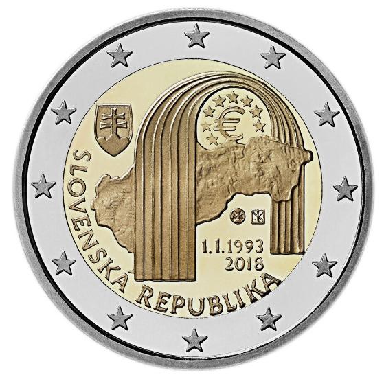 2€, 25η Επέτειος ίδρυσης της Δημοκρατίας της Σλοβακίας, 2018 2 ευρώ