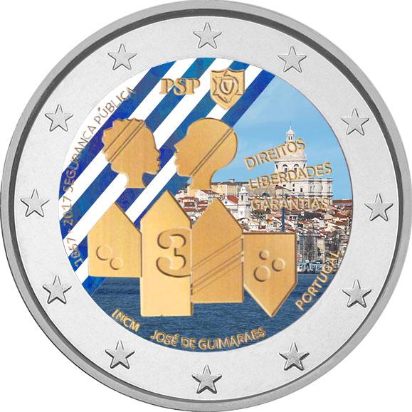 """2 €, Έγχρωμο, 150η επέτειος της """"Polícia de Segurança Pública (PSP)"""", Πορτογαλία 2 ευρώ"""