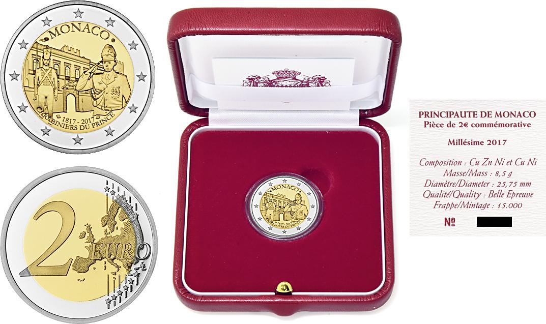 """2 Ευρώ, Μονακό, Η 200η επέτειο από την ίδρυση της """"Compagnie des Carabiniers du  2 ευρώ  αναμνηστικά 2"""