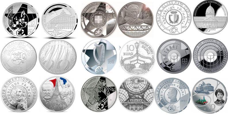 Συλλογή 9 Νομισμάτων, Europa Star, 10€, Ασήμι 925,