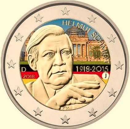 2€ έγχρωμο,, 100ή επέτειος γενεθλίων του Helmut Schmidt, Γερμανία, 2018 2 ευρώ