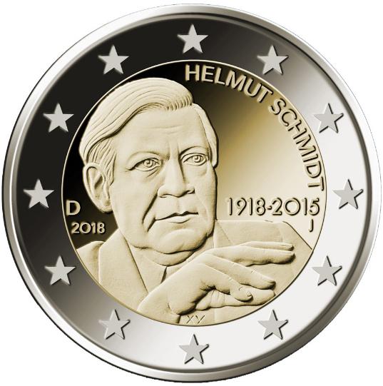 2€, 100ή επέτειος γενεθλίων του Helmut Schmidt, Γερμανία, 2018 2 ευρώ