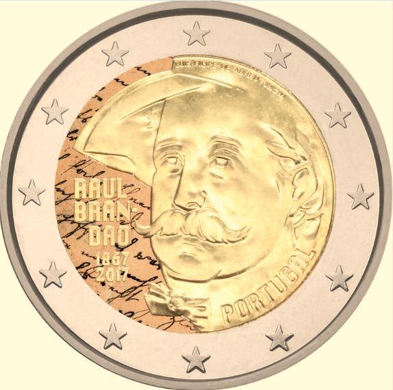 2 €, Έγχρωμο, 150 έτη απο την γέννηση του Raul Brandão, Πορτογαλία, 2017 2 ευρώ