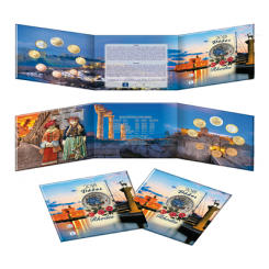 "Blister Set dedicated to: ""Greek Tourism – Rhodes"" Containing All Eight Denominations Of 2018 Greek Euro Coins, 8 coins set, Greece, 2018, Blister, ""Ελληνικός Τουρισμός – Ροδος, Σετ 8 νομισμάτων, Ελλάδα,  2018"