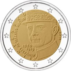 2 Euros,  Slovakia,100th anniversary of the death of Milan Rastislav  Stef‡nik, 2019
