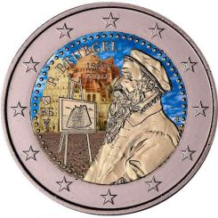 2 Euros, Coloured, Belgium,The 450th anniversary of the death of Pieter Bruegel the Elder, 2019
