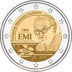 2 Euros,  Belgium,25th anniversary of the European Monetary Institute (EMI), 2019