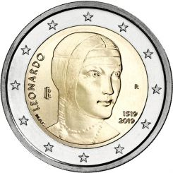 2 Euros,  Italy,The 500th anniversary of the death of Leonardo da Vinci, 2019