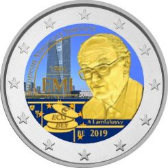 2 Euros, Coloured, Belgium,25th anniversary of the European Monetary Institute (EMI), 2019