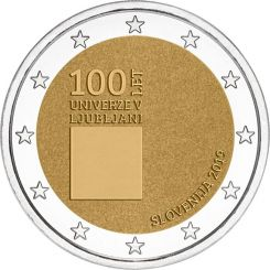 2 Euros,  Slovenia,100th anniversary of the University of Ljubljana,2019