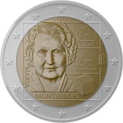 2 Euros, 150th Anniversary of the birth of Maria Montessori,Italy,2020