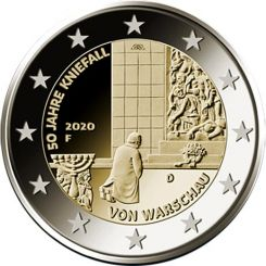 2 Euros, 50 years of the Warsaw genuflection,Germany,2020