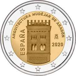 2 Euros, Mudejar Architecture of Aragon,Spain,2020