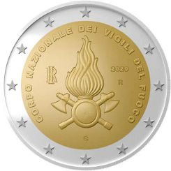 2 Euros, 80th Anniversary of the founding of the National Fire Department,Italy,2020