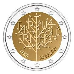 2 Euros, 100 years of the Tartu Peace Treaty,Estonia,2020