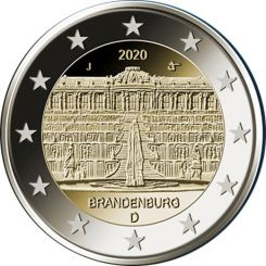 2 Euros, Brandenburg   Sanssouci Palace in Potsdam, Germany,2020