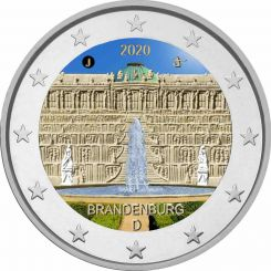 2 Euros Brandenburg Sanssouci Palace in Potsdam Germany 2020 Coloured