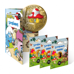 THE SMURFS LAUNCH OFFER COLLECTOR ALBUM + 3 MINI-MEDALS