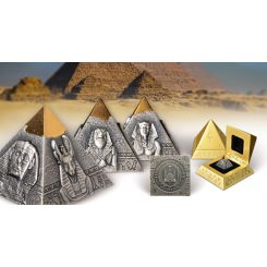 5OZ PURE SILVER PYRAMID COIN WITH 24K GOLD PLATED TIP, 2021
