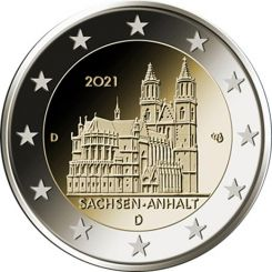 2 euro Saxony Anhalt Cathedral of Magdeburg Germany 2021
