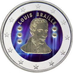 2 Euro, Colorized, Belgium, Louis Braille, 2009