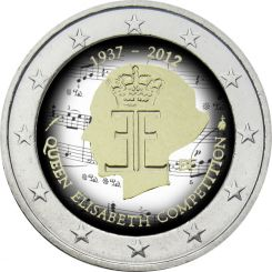 2 Euro, Colorized, Belgium, Queen Elisabeth Competition, 2012