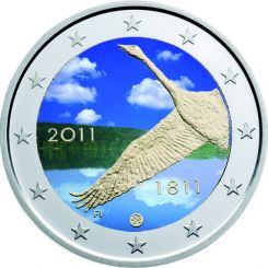 2 Euro, Colorized, Finland, 200 Years National Bank, 2011