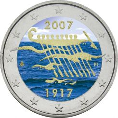 2 Euro, Colorized, Finland, 90 Years of independence, 2007
