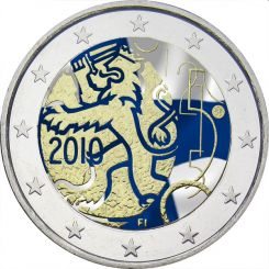 2 Euro, Colorized, Finland, 150th anniversary of Finnish currency, 2010
