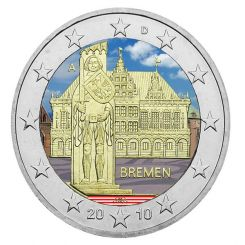 2 Euro, Colorized, Germany, Bremen, 2010