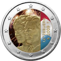 2 Euro, Colorized, Luxemburg, Grand-Duke Henri and Grand-Duchess Charlotte,  2009