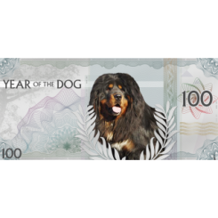 Lunar Year of the Dog Silver Note Mongolia, 2018,100 Togrog ,Silver,999,5 gr,Prooflike